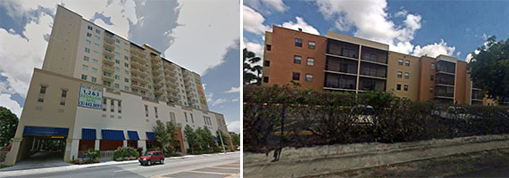 The Gables 37 Grand Apartments in Miami, left, and the 2500 Inverrary Club Apartments in Lauderhill, right