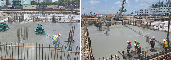 Workers lay concrete at the Paramount Fort Lauderdale site
