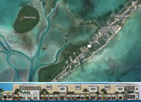 Planned Publix and an aerial view of Islamorada