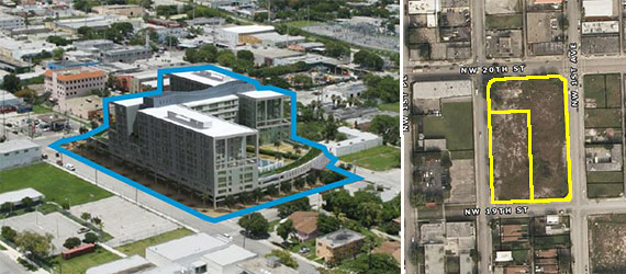 A rendering of what the property could be developed into and an overheard view of the two lots.