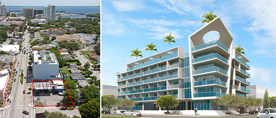 Coconut Grove site and a rendering of a potential hotel