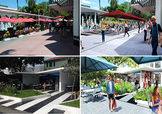 Photos of the existing improvements on Lincoln Road (left) and renderings of the new Lincoln Road master plan (right) (Credit: James Corner Field Operations)