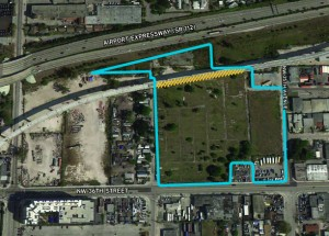 The undeveloped land at 3565 Northwest 36th Street near the Miami International Airport