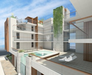 A rendering of the four-story expansion's pool deck