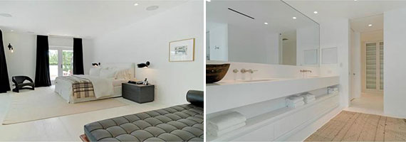 The master bedroom and bathroom
