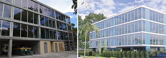 The building at 5555 Biscayne Boulevard currently under construction and a rendering of the finished product.