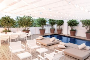 The rooftop deck and pool