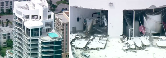 Screenshots of the damage at the Chateau Beach Residences taken from NBC 6's live chopper footage