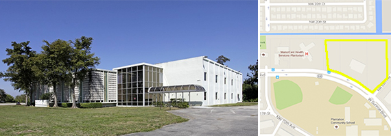 Existing warehouse and a map of 6901 West Sunrise Boulevard