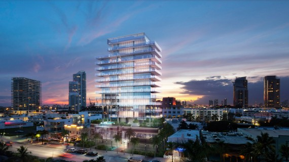 A rendering of the GLASS residential tower at 120 Ocean Drive in Miami Beach