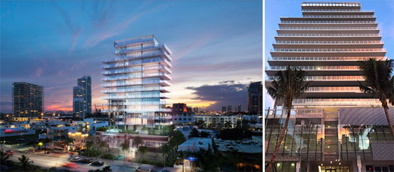 A rendering of Miami Beach's GLASS condo tower (left) and the finished product (right)