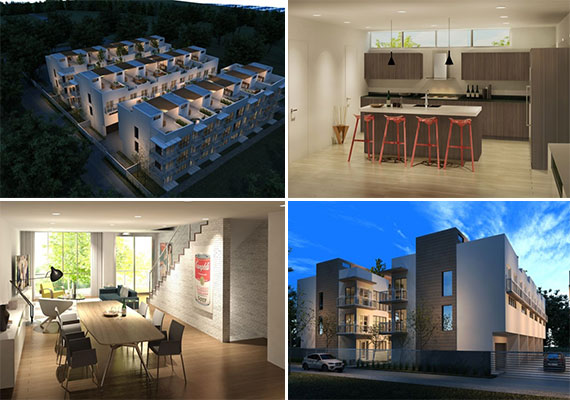 Renderings of the upcoming Grove Place townhouse project