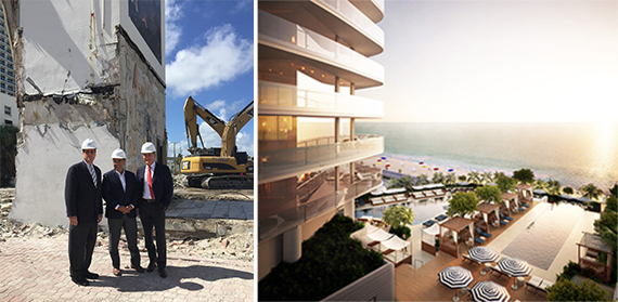 Jim Cohen, Nadim Ashi and Mayor Jack Seiler, and a rendering of the Four Seasons Fort Lauderdale