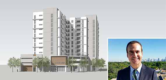 Rendering of Wagner Creek Apartments and Matt Rieger of the Housing Trust Group