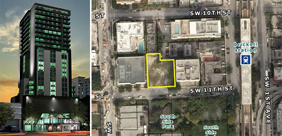Rendering of the Hotel Indigo in the Brickell area and a map of the site