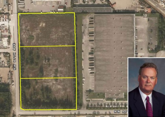 The 9.75-acre development site in Medley and James G. Martell, CEO of the Ridge Propert Trust