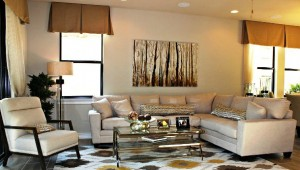 Living area in Westwood Place model.