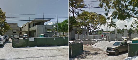 The construction sites at 2128 and 2142 North Bay Road where two waterfront mansions are being built