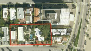 An aerial view of the three parcels where OTO will build its AC Hotel by Marriott. The right-most parcel, which is shown to hold a house, was razed by its owners.