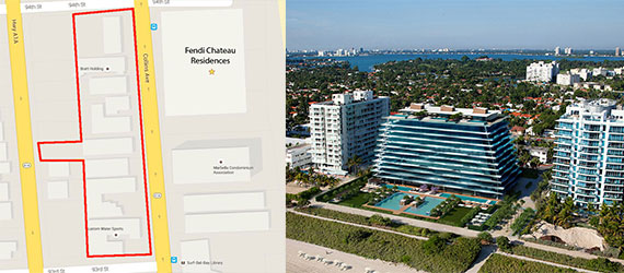 A map of the Château Group's acquisitions in Surfside and a rendering of the Fendi Chateau Residences project that's being developed across the street