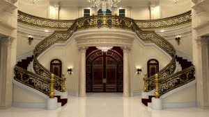 The mansion's huge marble staircase