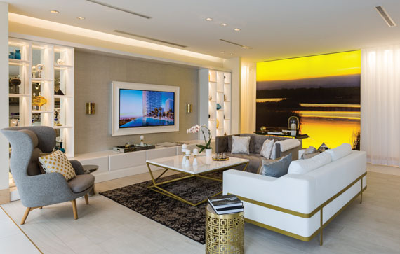 Metropica's sales gallery beams views of the future condo on giant screens.