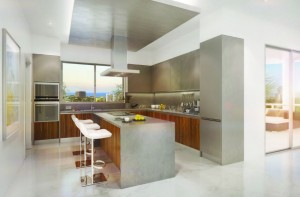 Interior rendering for a unit's kitchen