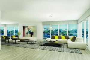 Each unit has 180-degree views, except for two full-floor penthouses that have 360-degree views