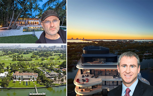 Clockwise from left: 5800 North Bay Road and Phil Collins, Faena House and Ken Griffin, and 17 Indian Creek