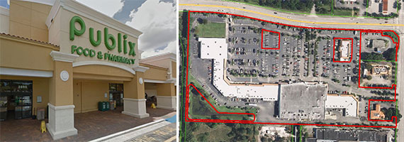 The Crosstown Plaza shopping strip in unincorporated Palm Beach County