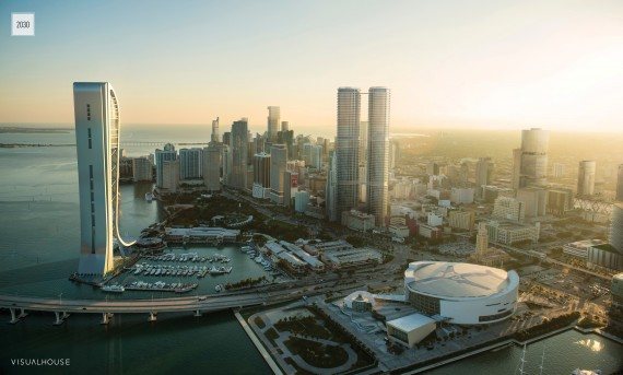 The VisualHouse rendering of the downtown Miami skyline in 2030 (Aerial photography credit: SkyPan International)