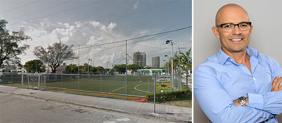 The soccer fields where 27 Edgewater is planned and Stripey Development CEO Alejandro Goldemberg