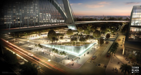 "A rendering of the proposed Town Square Plaza in downtown Miami that would sit under the I-395 ""signature bridge"""