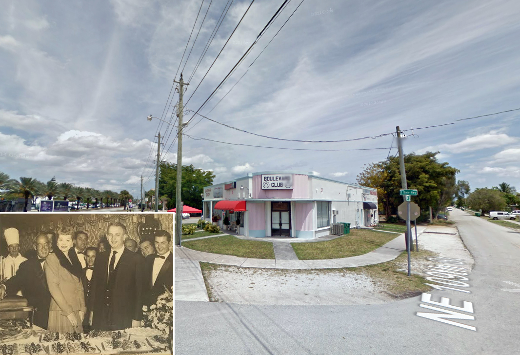 10905 Biscayne Boulevard and inset photo of Lucille Ball at Casa Santino