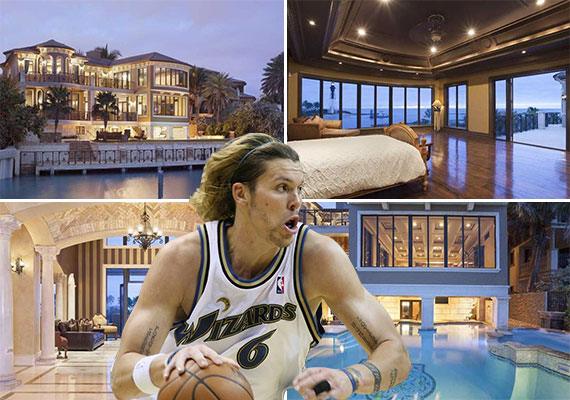 The home at 2308 Bay Drive (Courtesy: IBI Design) and NBA player Mike Miller (Credit: Keith Allison)