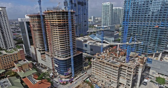 An aerial shot of Brickell, including the construction sites for both SLS Lux and Brickell City Centre