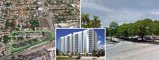 Coconut Grove development site and a rendering of the project