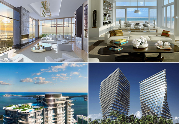 Renderings of Mansions at Acqualina, Faena House, Brickell Flatiron and Grove at Grand Bay