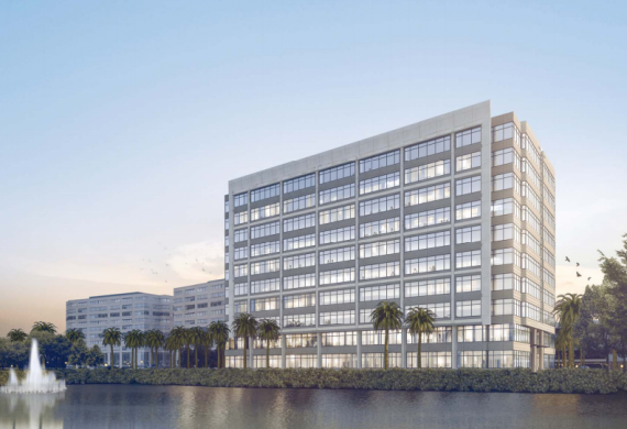 A rendering of a Blue Lagoon office building in the airport submarket