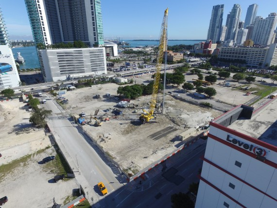 The Miami Worldcenter construction site along Northeast Seventh Street