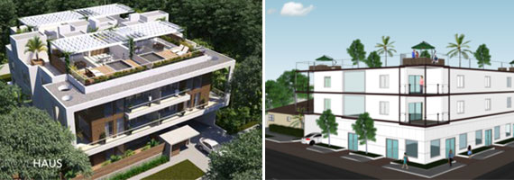 Renderings of Metronomic's Grove Haus (left) and Plaza Celia projects in Miami