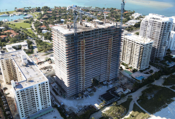 The now-topped-off Oceana Bal Harbour construction site in Bal Harbour