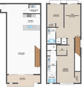 (Click to enlarge) The floor plan of Unit C, Galleria Loft's 2,156-square-foot offering