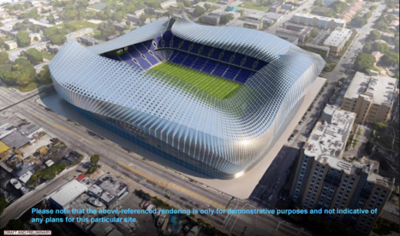 A conceptual rendering of the MLS Miami stadium