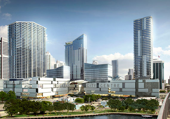 A rendering of the upcoming Brickell City Centre mixed-use project