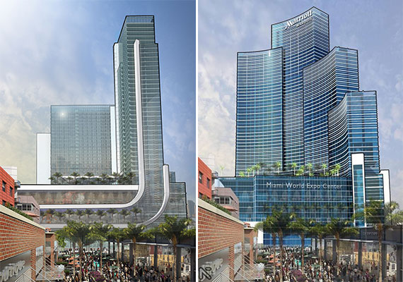An up-to-date rendering of the hotel, left, and an early version, right