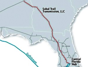 Map of planned Sabal Trail natural gas pipeline