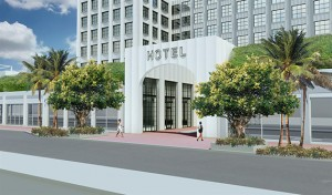 Rendering of the hotel's facade