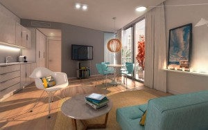 Rendering of a unit's living room