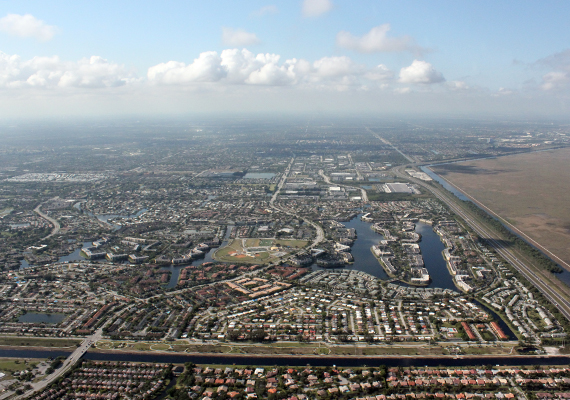 Aerial view of Broward County